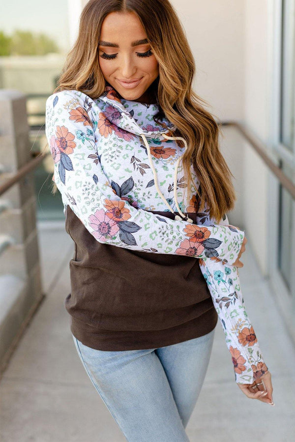 Wild Thing Patchwork Cowl Neck Sweatshirt - L & M Kee, LLC