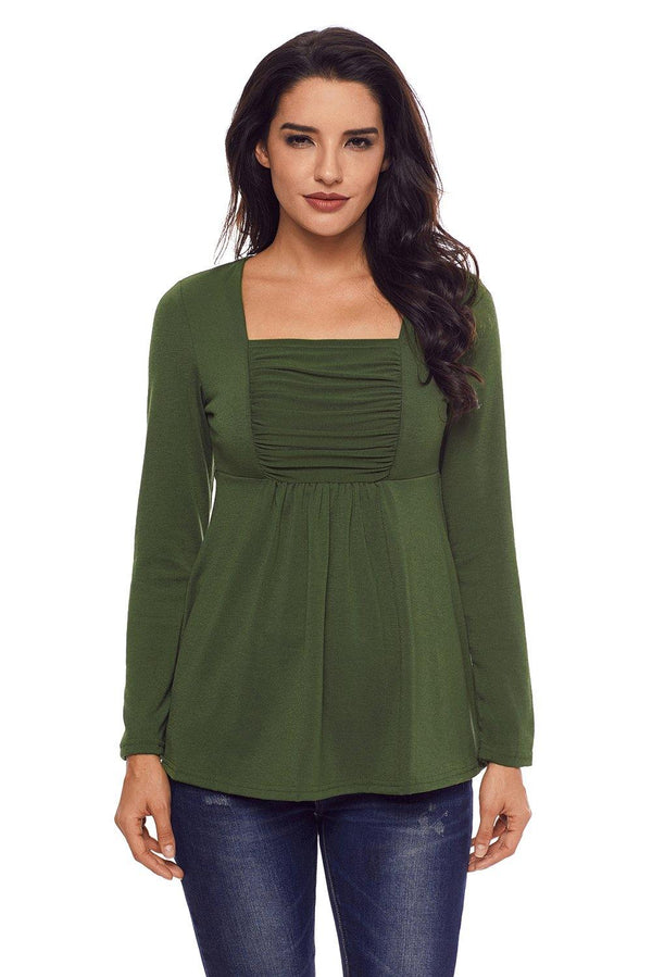 Army Green Square Neckline Ruched Long Sleeve Blouse - L & M Kee, LLC