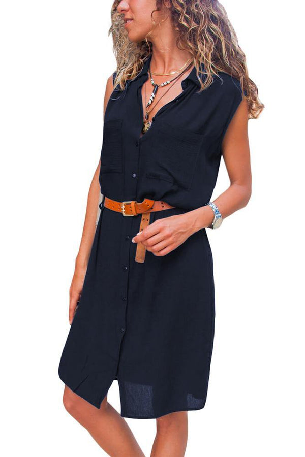 Pockets Buttoned Sleeveless Shirt Dress