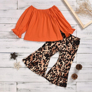 Infant Baby Girl Ruffle Top T-Shirt + Leopard Flare Pants Set