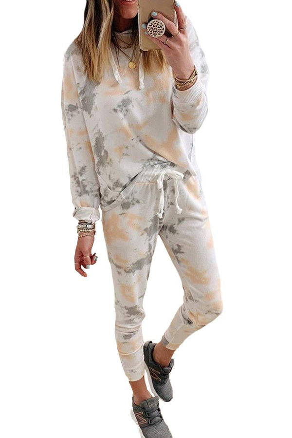 Tie Dye Casual Hooded Top & Drawstring Pants Set - L & M Kee, LLC