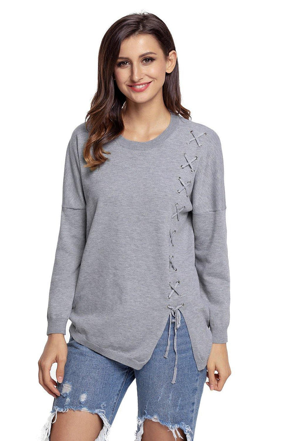 Grey Lace Up Side Lightweight Sweater - L & M Kee, LLC