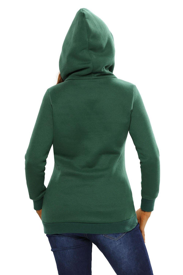 Button Zip Detail Warm Pocket Hoodie - L & M Kee, LLC