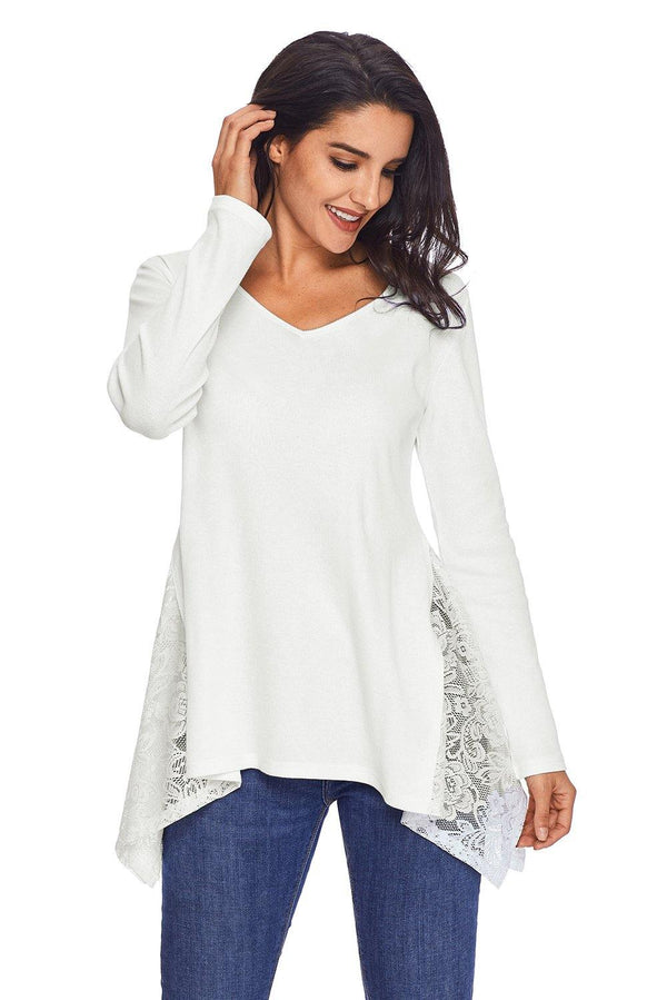 Graceful Lace Inset Side White Womens Top - L & M Kee, LLC