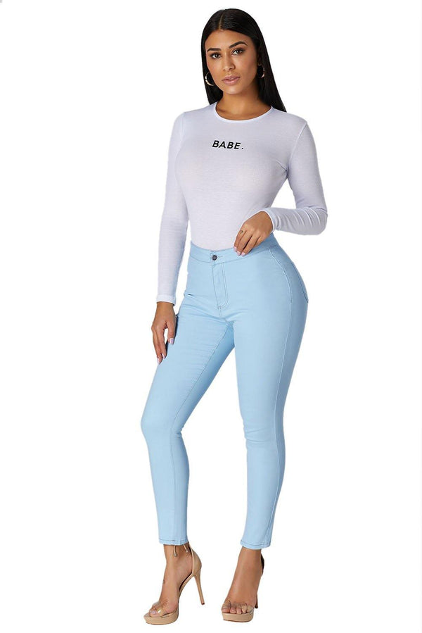 Light Blue High Waist Skinny Jeans with Round Pockets
