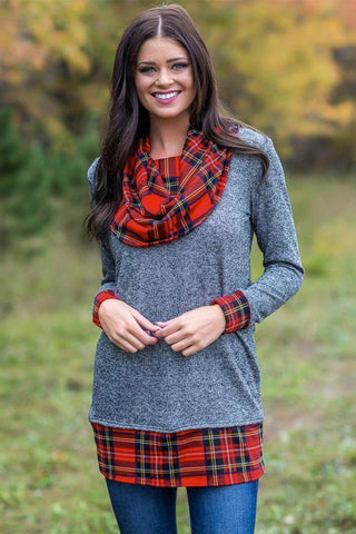 Autumn Wind Plaid Cowl Neck Tunic