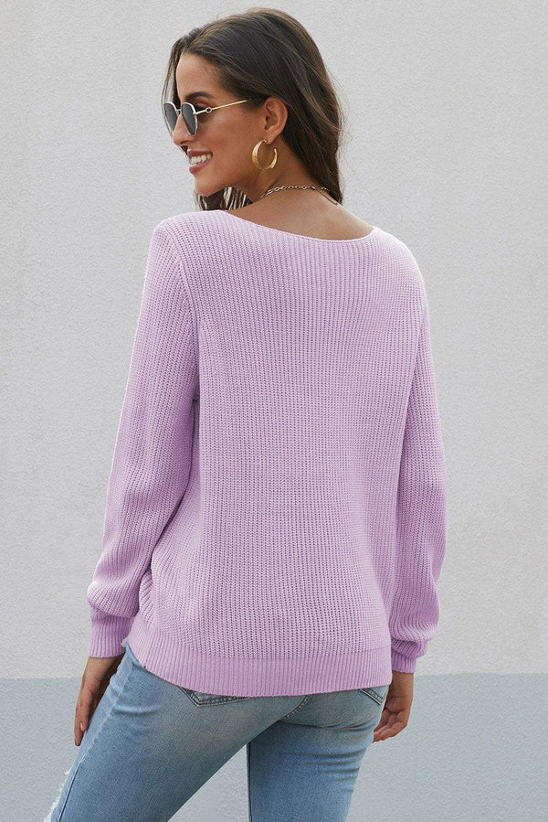 Lace Collar V Neck Ribbed Sweater - L & M Kee, LLC