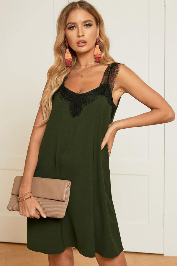 V Neck Lace Shoulder Sleeveless Mini Dress