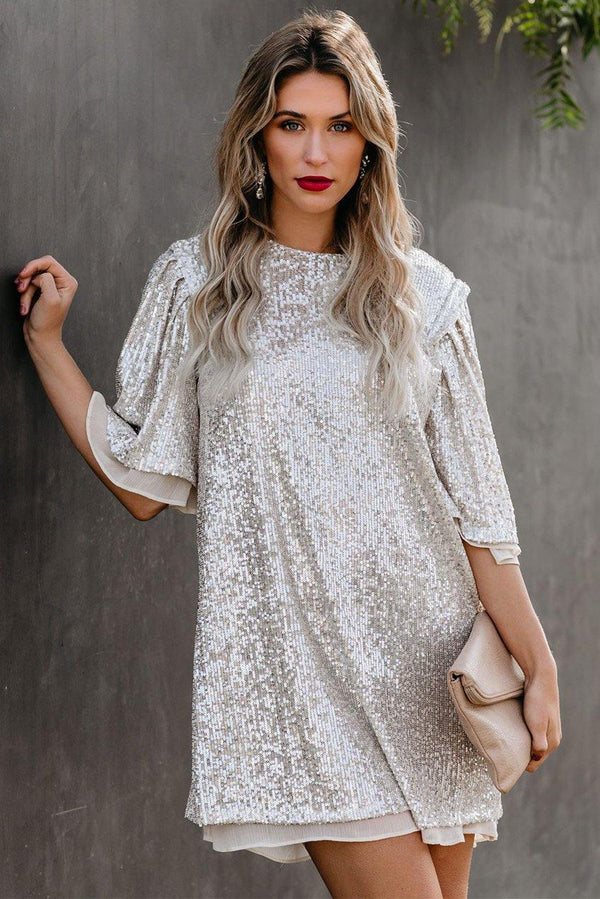 y Sequin Shift Mini Dress