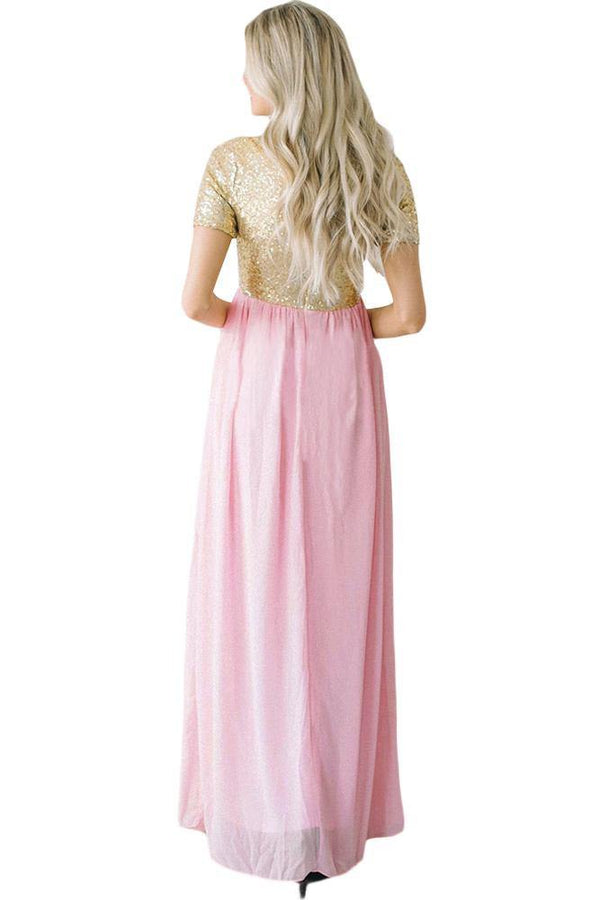 Chiffon Sequin Zipper Back Maxi Dress