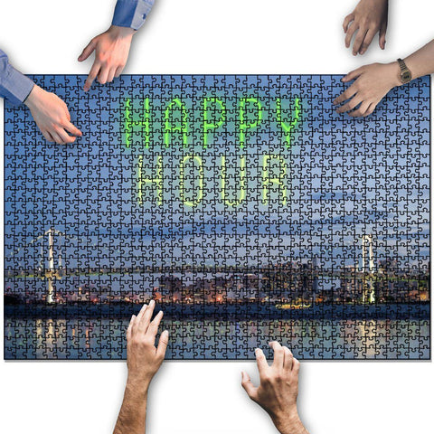 City Skyline Happy Hour Wooden Jigsaw Puzzles 1000 Pieces