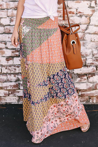 Boho Print Tie-Up Waist Long Maxi Skirt