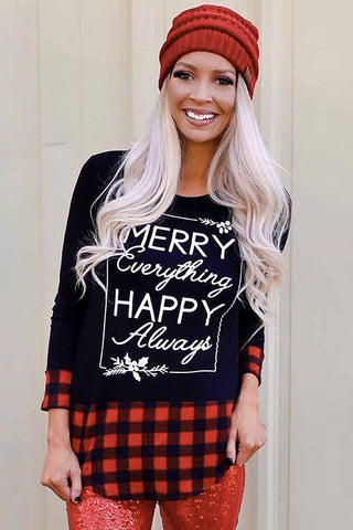 Christmas Letter Print Red Plaid Cuffs and Hem Long Sleeve Top