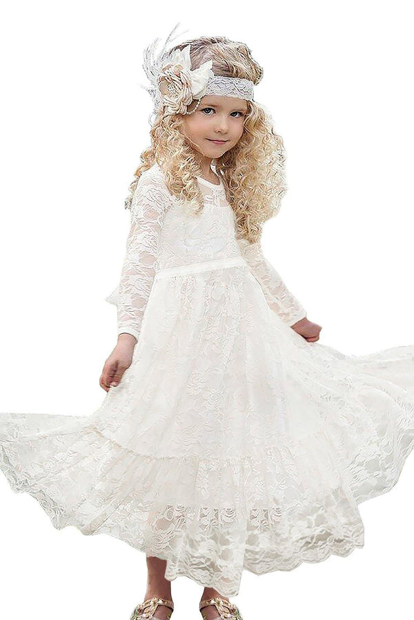 Creamy Floral Lace Flower Girl Maxi Dress - L & M Kee, LLC
