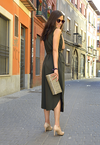 Army Green Sleeveless Shirt Long Dress with Pockets - L & M Kee, LLC