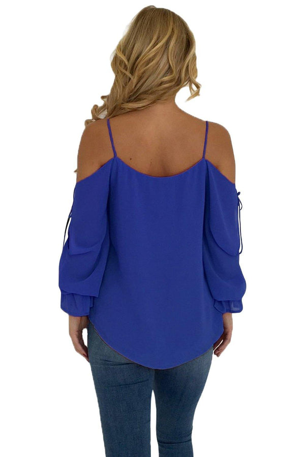 Royal Blue Spaghetti Strap Cold Shoulder Long Sleeve Top - L & M Kee, LLC