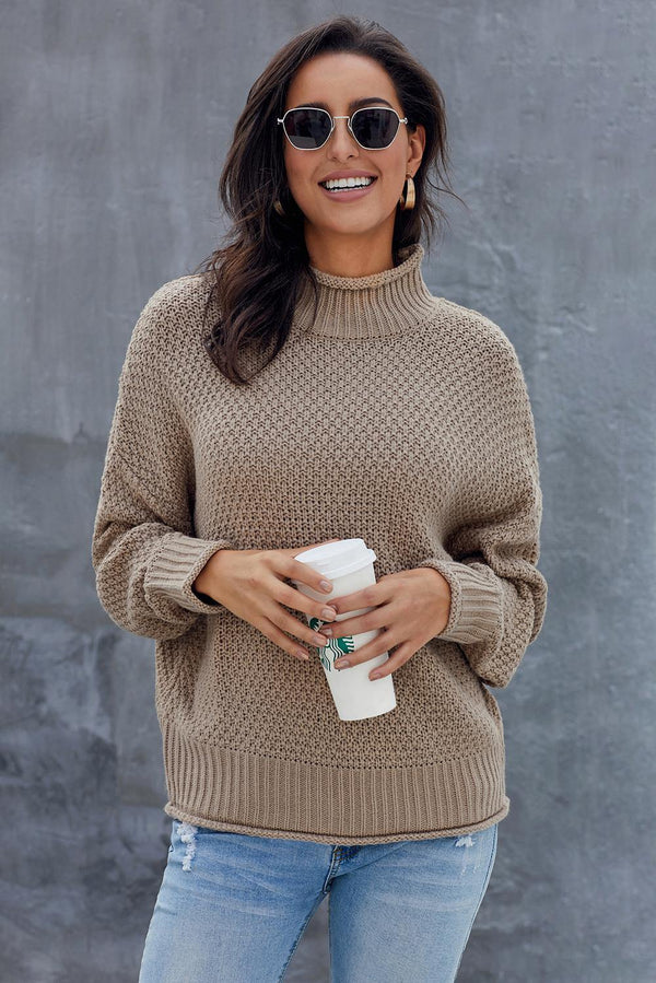 Khaki Oversized Chunky Batwing Long Sleeve Turtleneck Sweater