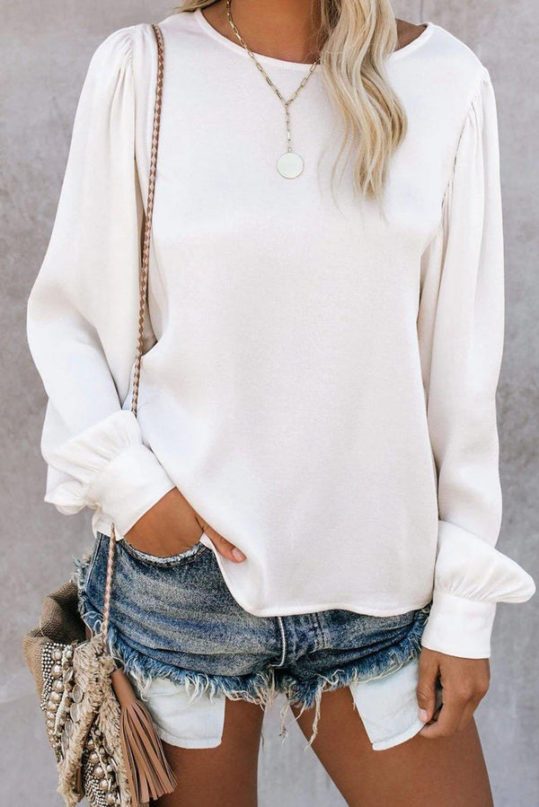 Billowy Bell Sleeve Relaxed Fit Pullover Top