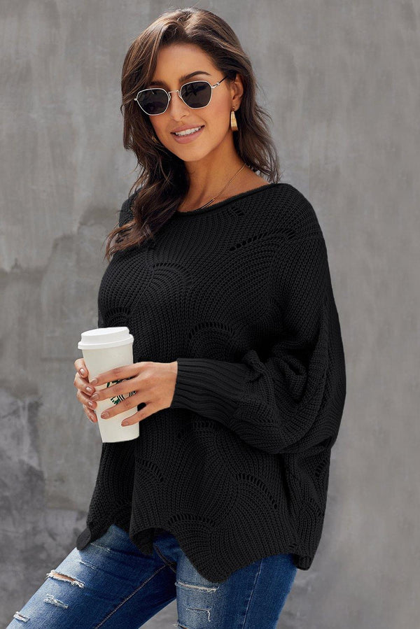 Wave Hem Long Batwing Sleeve Hollow Out Elegant Sweater - L & M Kee, LLC