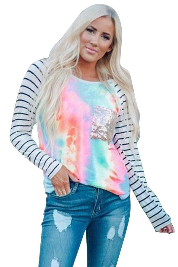 Sequin Pocket Tie-dye Panel Striped Sleeve Top - L & M Kee, LLC