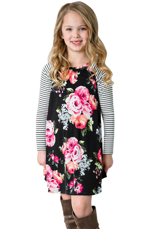 Spring Fling Floral Striped Sleeve Short Dress for Kids