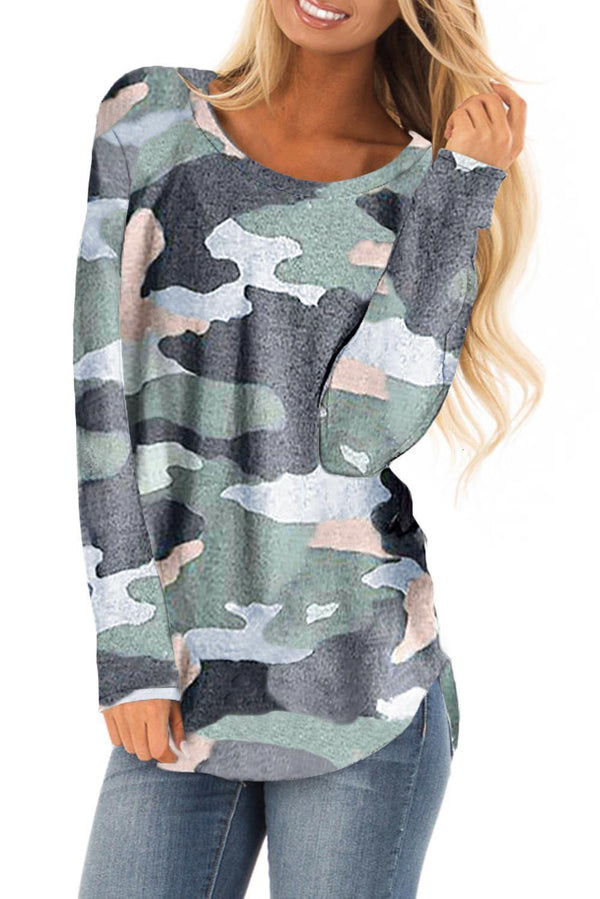 Khaki Stand For Something Camo Knit Top - L & M Kee, LLC
