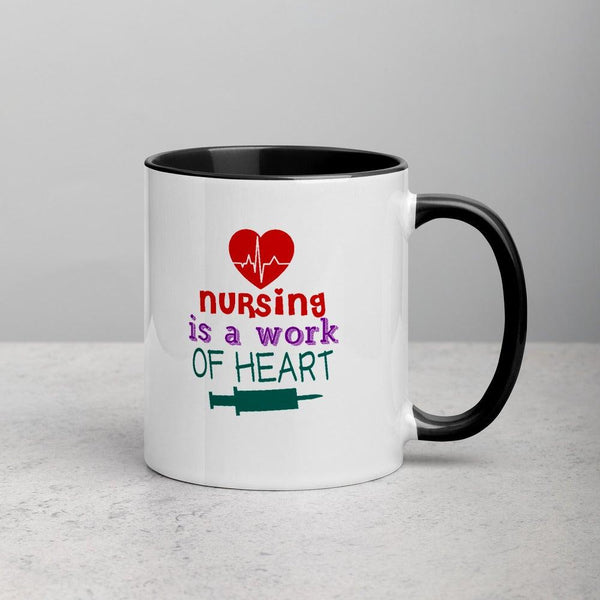 Nursing is a Work of Heart Mug with Color Inside