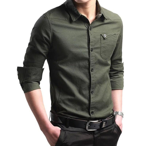 Military Men Business Shirts Long Sleeve Slim
