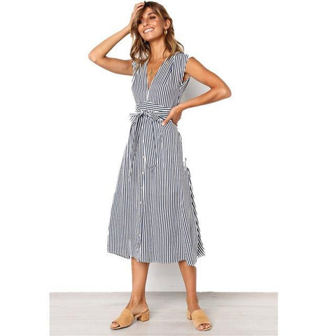 2020 Summer Dress Women Sleeveless Casual Stripe Dresses