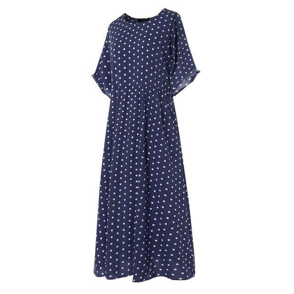 O-Neck Short Sleeve Dot Printed Casual Dress
