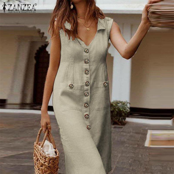 ZANZEA V-Neck Buttons Down Summer Sleeveless Cotton Linen Sundress