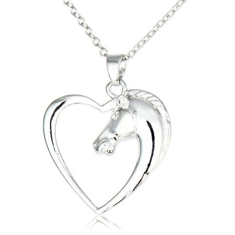 Bespmosp 24PCS/Lot Wholesale Hot Trendy Vintage Style Fashion Horse In Heart Pendant Necklace