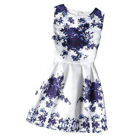 2019 Summer Floral Printed Sleeveless Girl Dresses Age 6 8 9 10 11 12 16 Years
