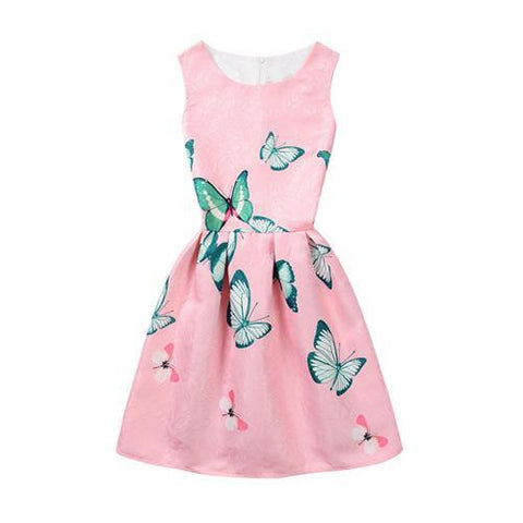 2019 Summer Butterfly Floral Printed Sleeveless Girl Dresses Age 6 8 9 10 11 12 16 Years