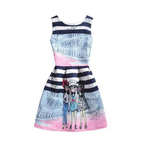 2019 Summer Printed Sleeveless Girl Dresses Age 6 8 9 10 11 12 16 Years