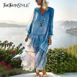 TWOTWINSTYLE Perspective V Neck Lace Up Lantern Sleeve Maxi Dress Plus Size
