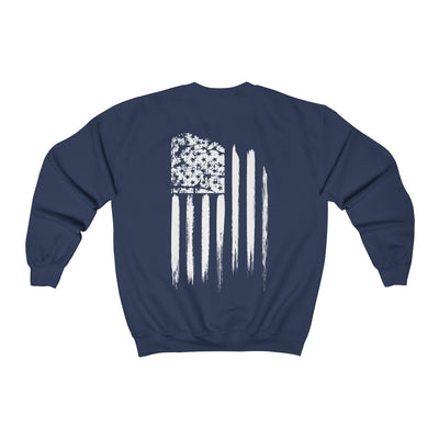Men's Crewneck Sweatshirt - White Grunge Flag