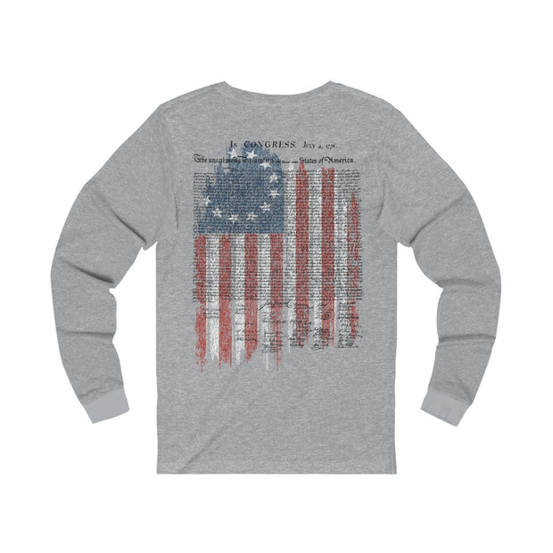 Women's Jersey Long Sleeve Tee - Betsy Ross Flag with Declaration of Independence