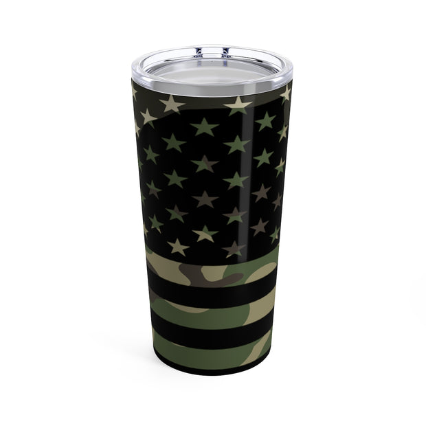 Camo Flag on Black - Tumbler
