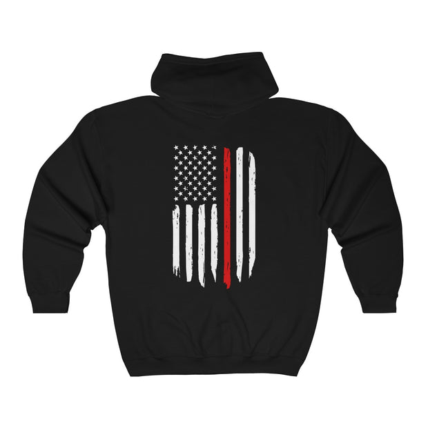 Women's Heavy Full Zip Hoodie - Thin Red Line