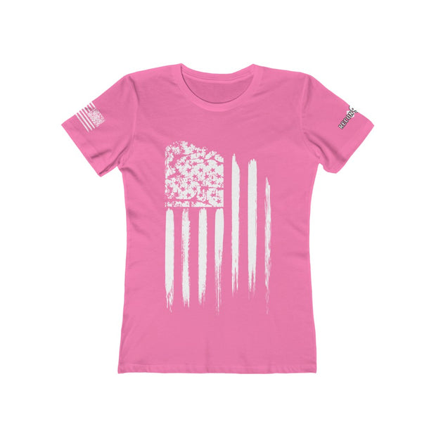 Women's Boyfriend Tee - White Grunge Flag