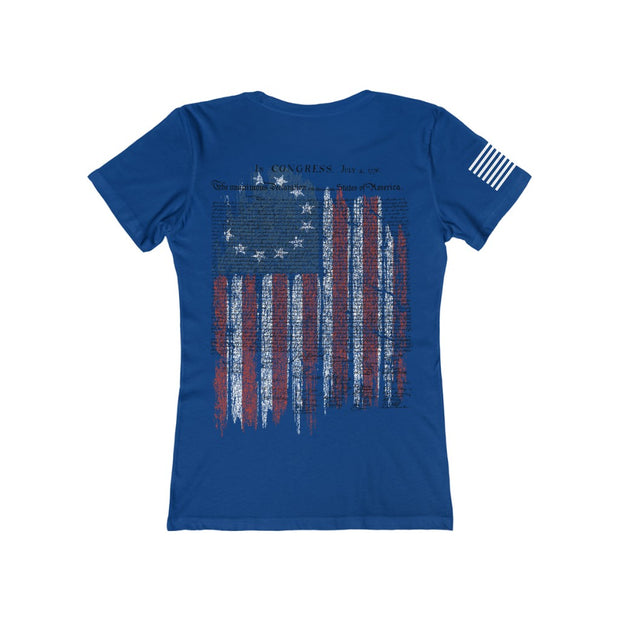 Women's Femenine Tee - Betsy Ross Flag with our Declaration of Independence