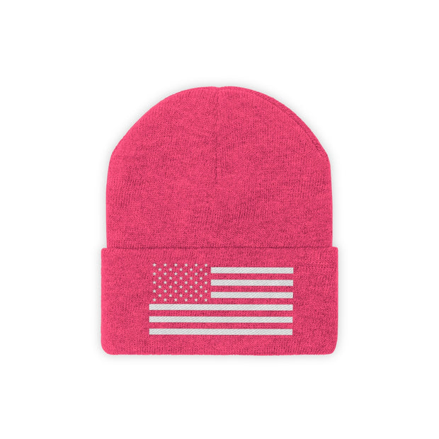 Knit Beanie - White Flag