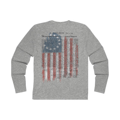 Men's Long Sleeve Crew Tee - Betsy Ross Flag with Declaration of Independence