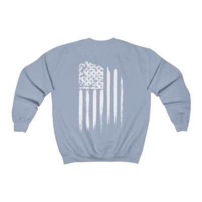 Women's Crewneck Sweatshirt - White Grunge Flag