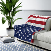 "Super Comfy American Flag Patriotic Sherpa Throw Blanket 50"" x 60"" and 60"" x 80"""