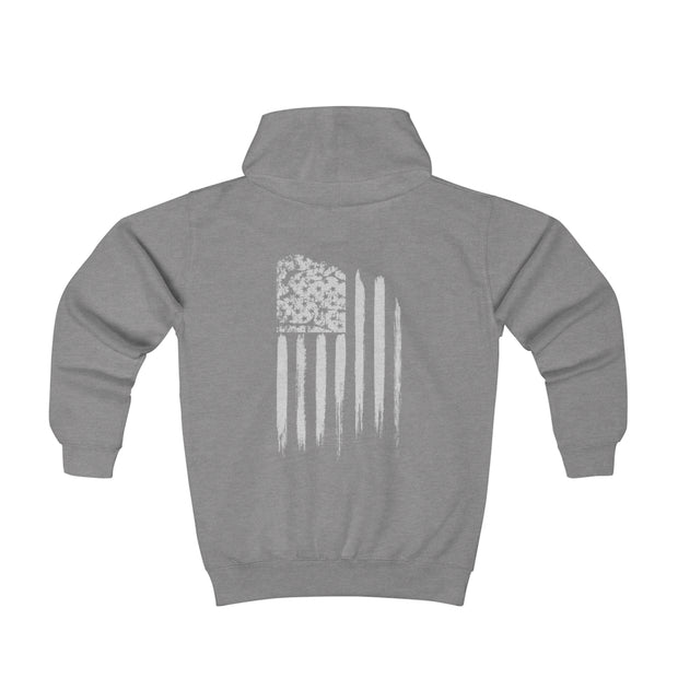 Youth Hoodie - White Grunge Flag