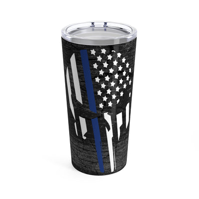 Tumbler - Thin Blue Line Punisher Skull