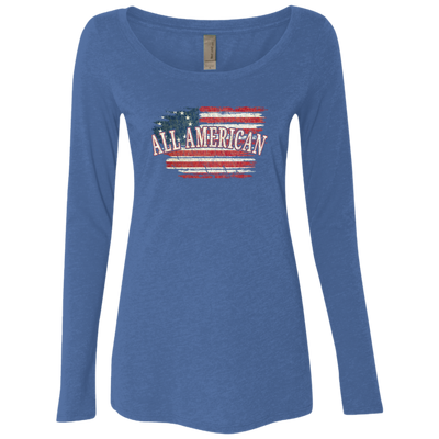 Ladies' Triblend LS Scoop - All American