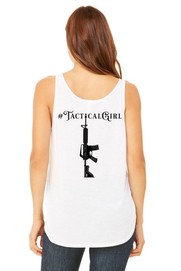 Ladies Flowy Side Slit Tank - #TacticalGirl